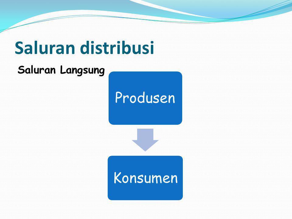 Saluran distribusi Saluran Langsung Produsen Konsumen
