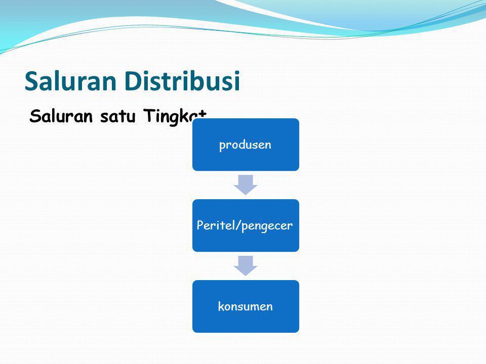 Saluran Distribusi Saluran satu Tingkat produsen Peritel/pengecer