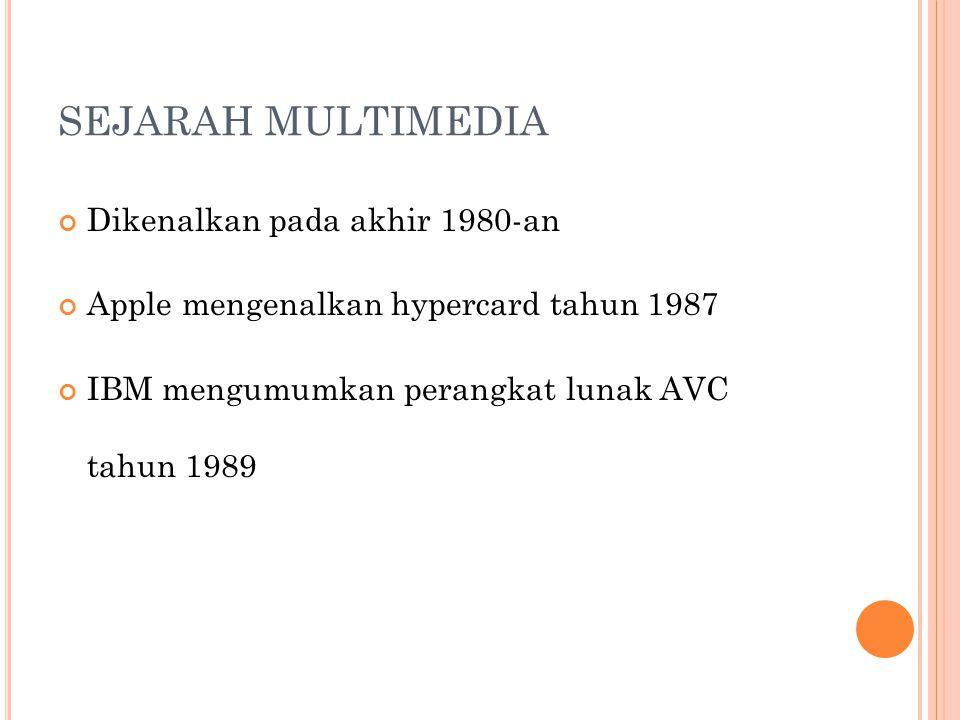 SEJARAH MULTIMEDIA Dikenalkan pada akhir 1980-an