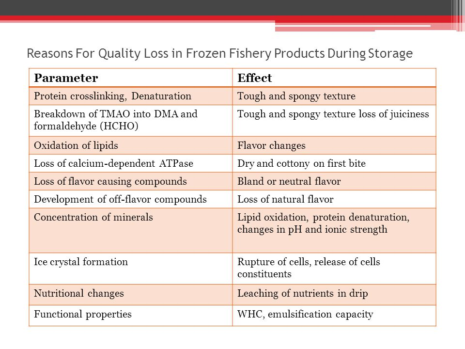 Reasons For Quality Loss in Frozen Fishery Products During Storage