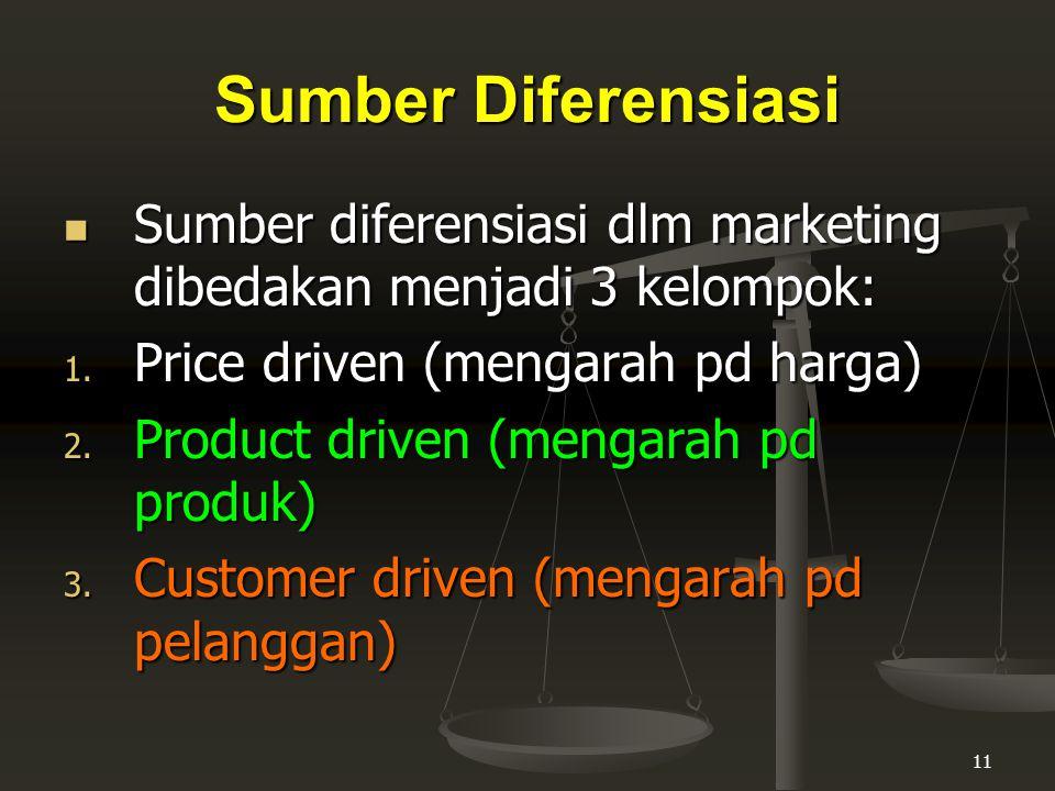 Sumber Diferensiasi Sumber diferensiasi dlm marketing dibedakan menjadi 3 kelompok: Price driven (mengarah pd harga)