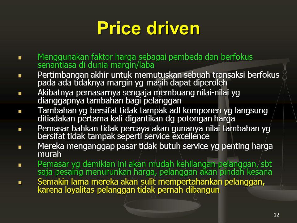 Price driven Menggunakan faktor harga sebagai pembeda dan berfokus senantiasa di dunia margin/laba.
