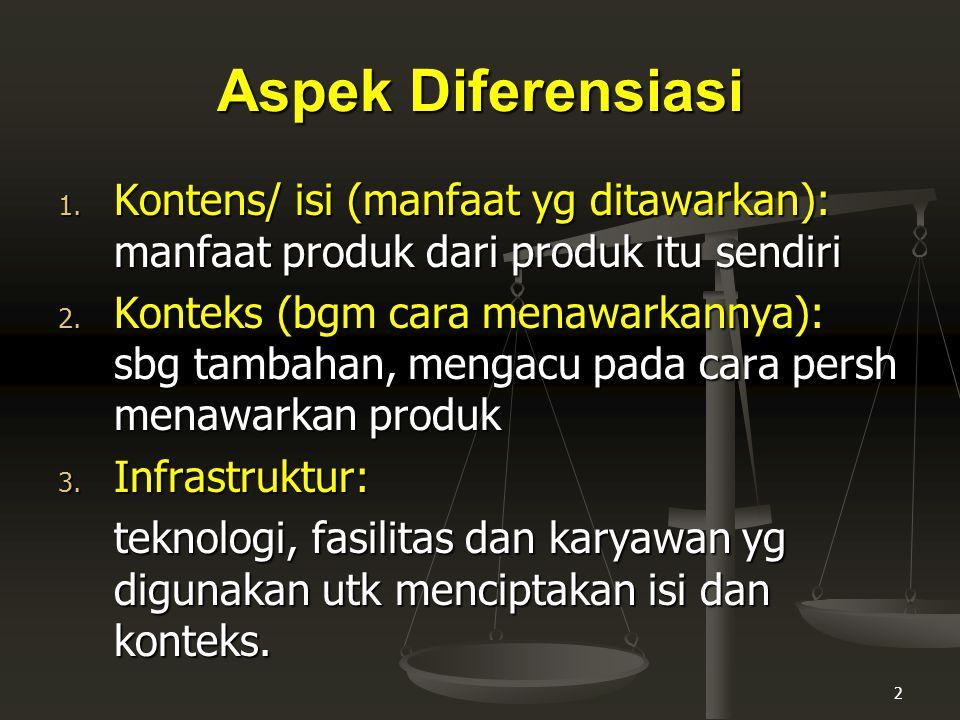 Aspek Diferensiasi Kontens/ isi (manfaat yg ditawarkan): manfaat produk dari produk itu sendiri.