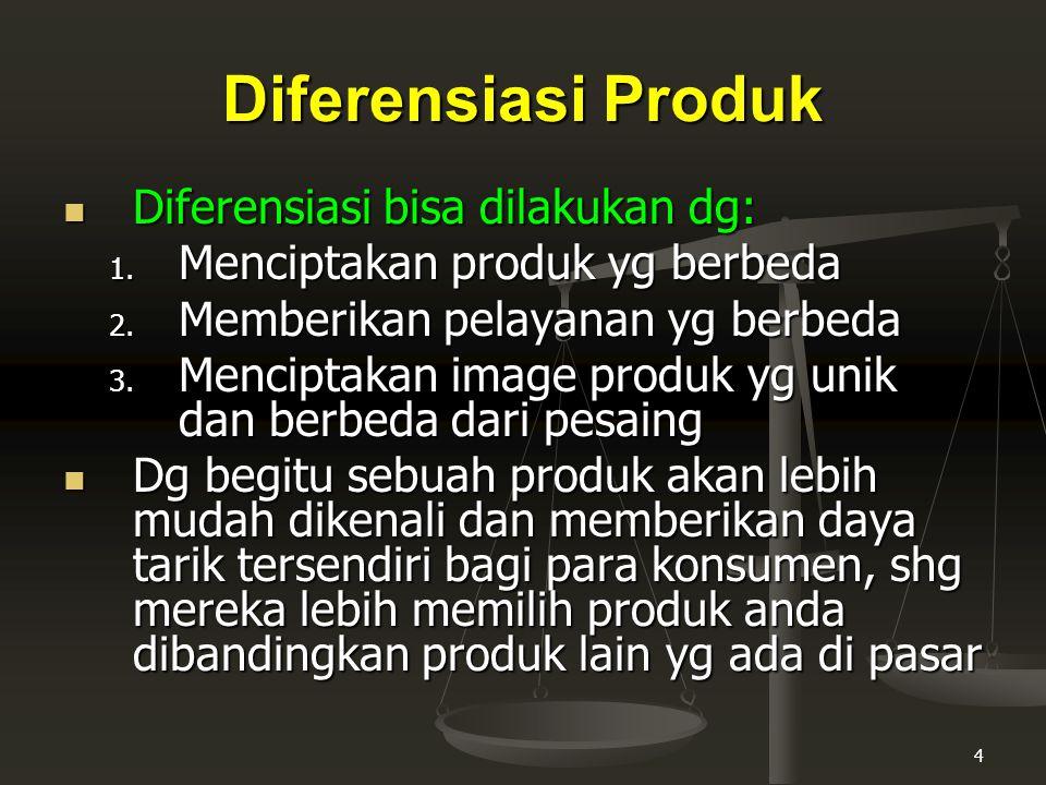 Diferensiasi Produk Diferensiasi bisa dilakukan dg: