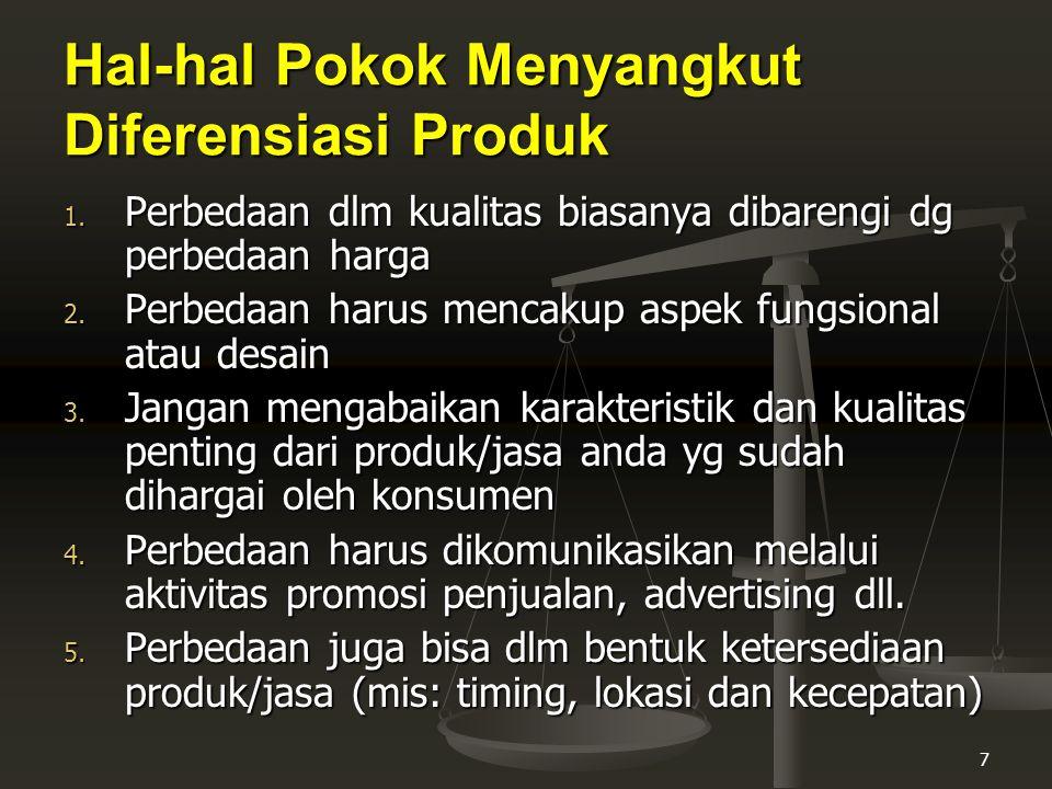 Hal-hal Pokok Menyangkut Diferensiasi Produk