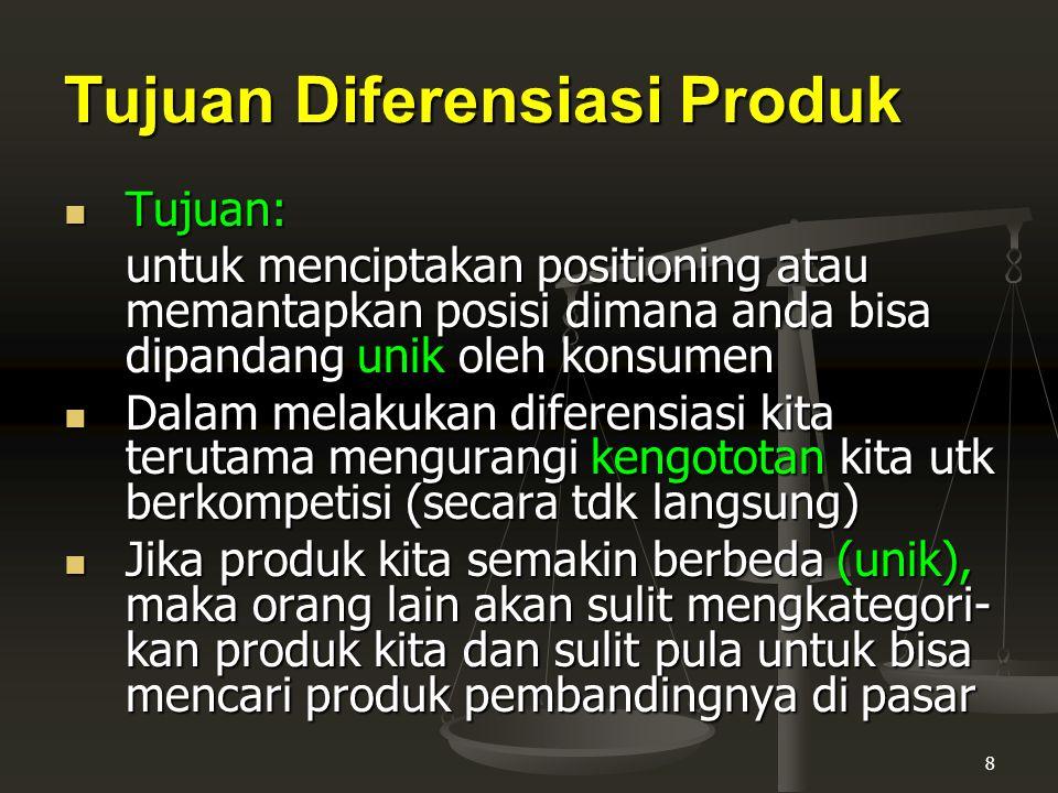 Tujuan Diferensiasi Produk
