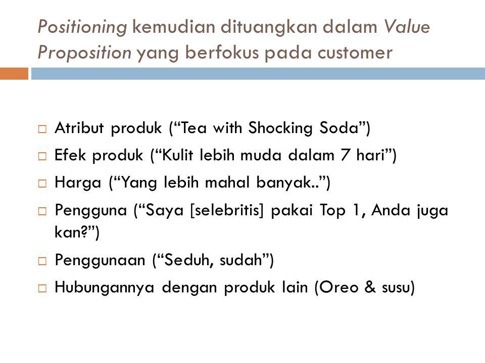 Positioning kemudian dituangkan dalam Value Proposition yang berfokus pada customer