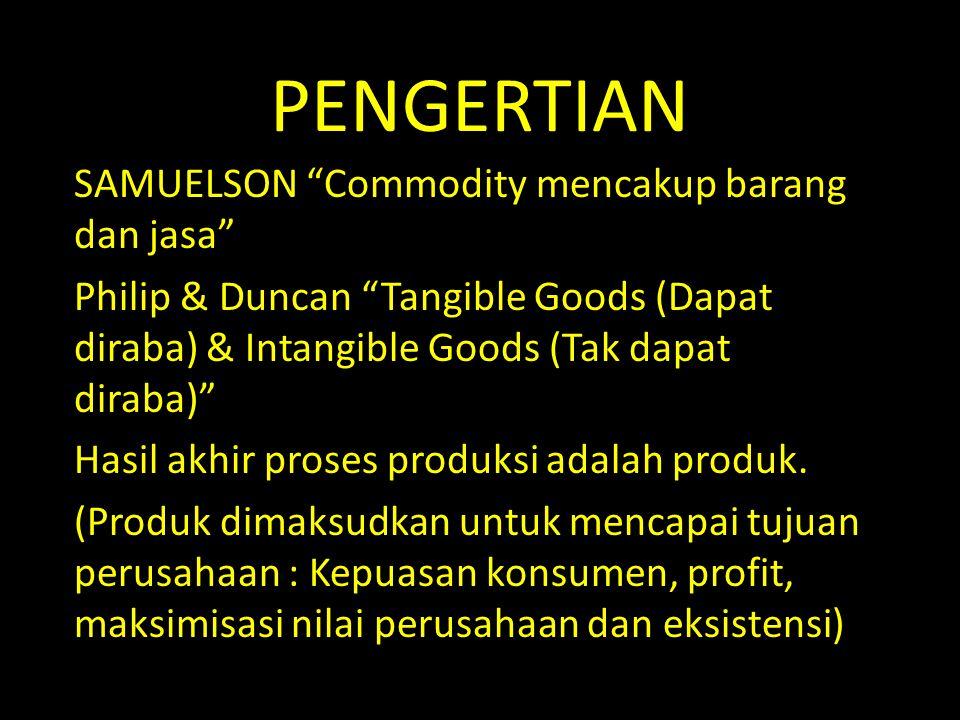 PENGERTIAN SAMUELSON Commodity mencakup barang dan jasa