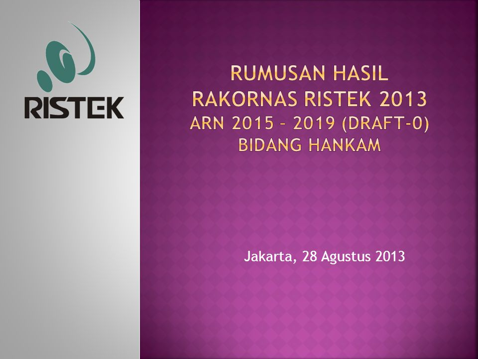 RUMUSAN HASIL RAKORNAS RISTEK 2013 ARN 2015 – 2019 (DRAFT-0) Bidang HANKAM