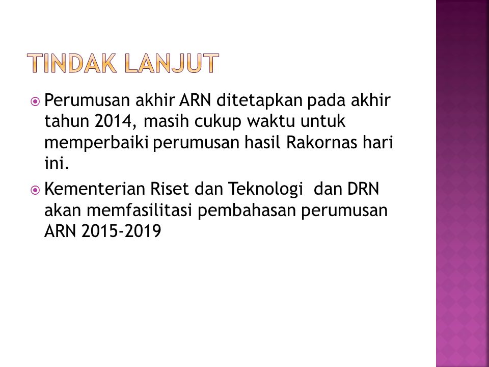 TINDAK LANJUT Perumusan akhir ARN ditetapkan pada akhir tahun 2014, masih cukup waktu untuk memperbaiki perumusan hasil Rakornas hari ini.