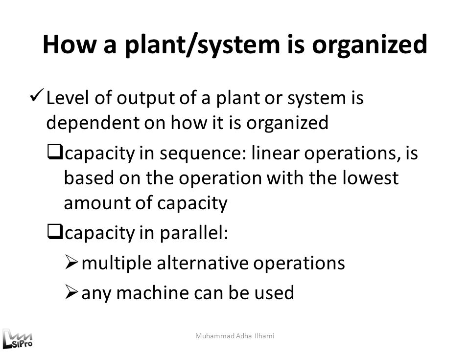 How a plant/system is organized