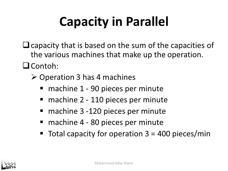 Capacity in Parallel capacity that is based on the sum of the capacities of the various machines that make up the operation.