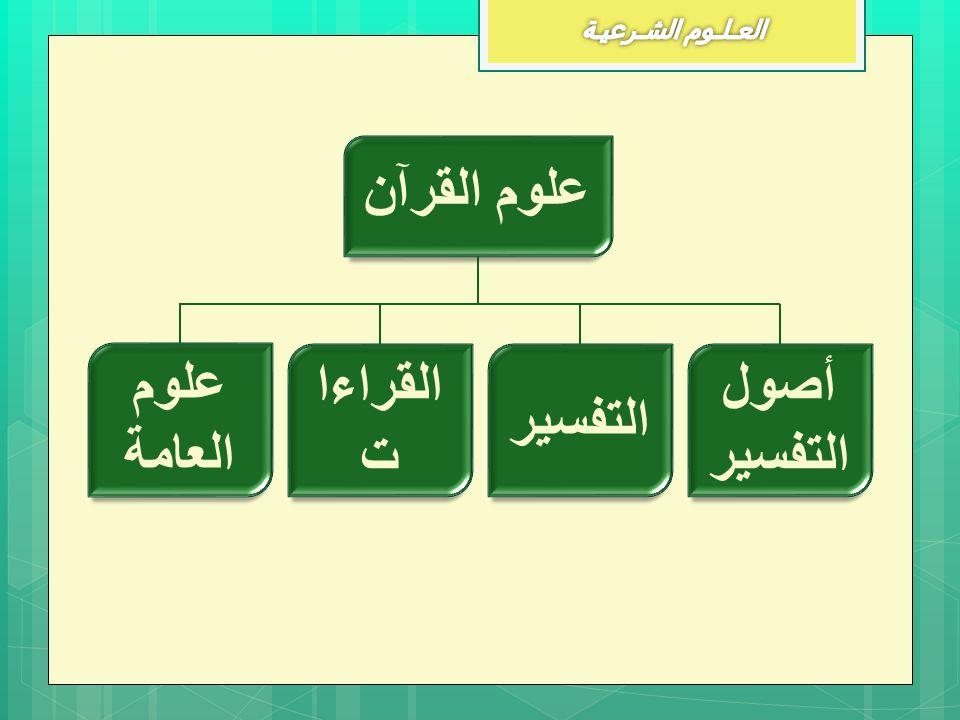 علوم القرآن علوم العامة القراءات التفسير أصول التفسير