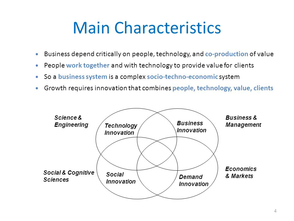 Main Characteristics Business depend critically on people, technology, and co-production of value.