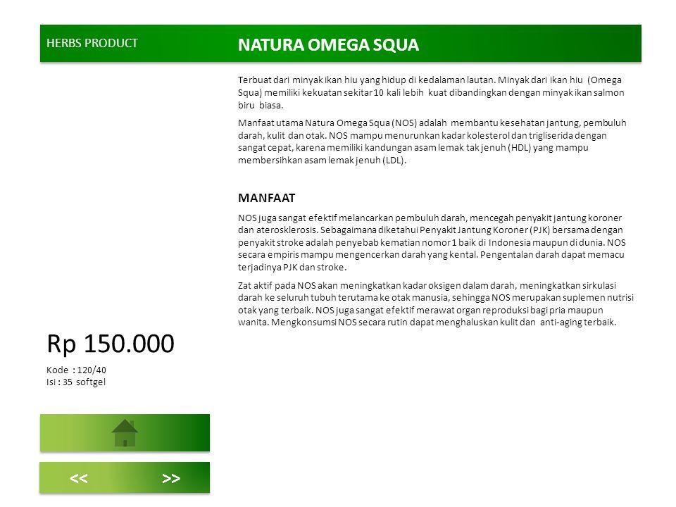 Rp 150.000 NATURA OMEGA SQUA << >> HERBS PRODUCT MANFAAT