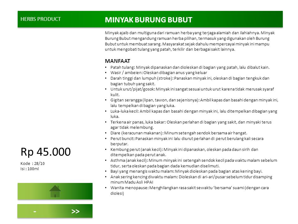 Rp 45.000 MINYAK BURUNG BUBUT - >> HERBS PRODUCT MANFAAT