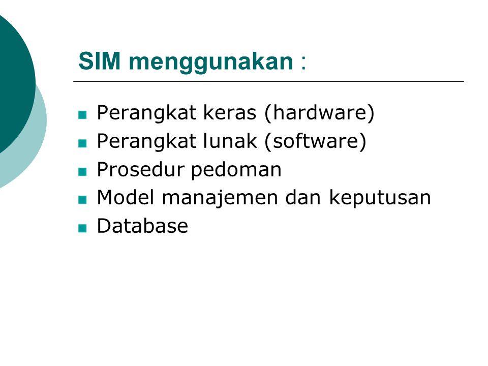 SIM menggunakan : Perangkat keras (hardware)