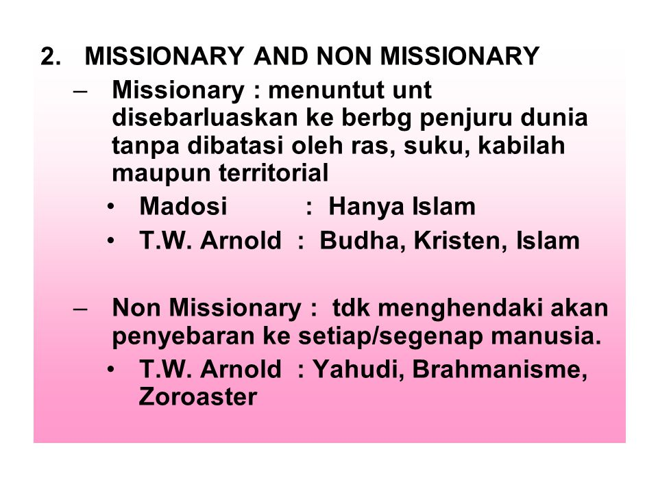 MISSIONARY AND NON MISSIONARY