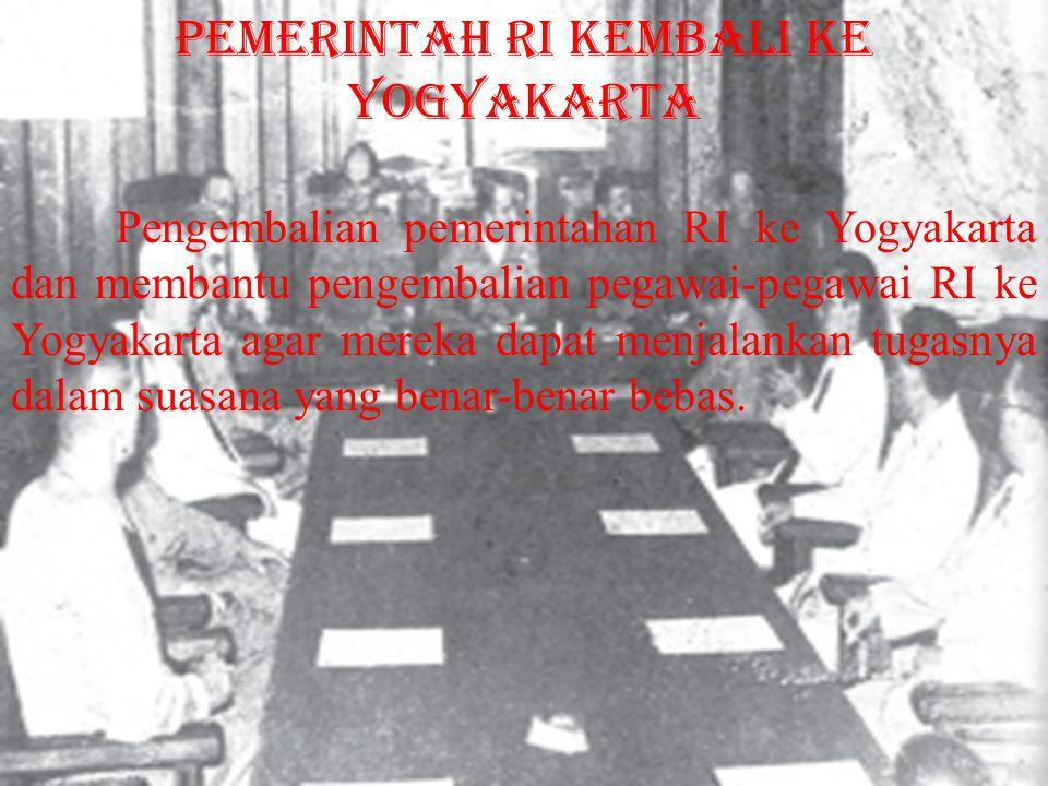 pemerintah RI kembali ke Yogyakarta