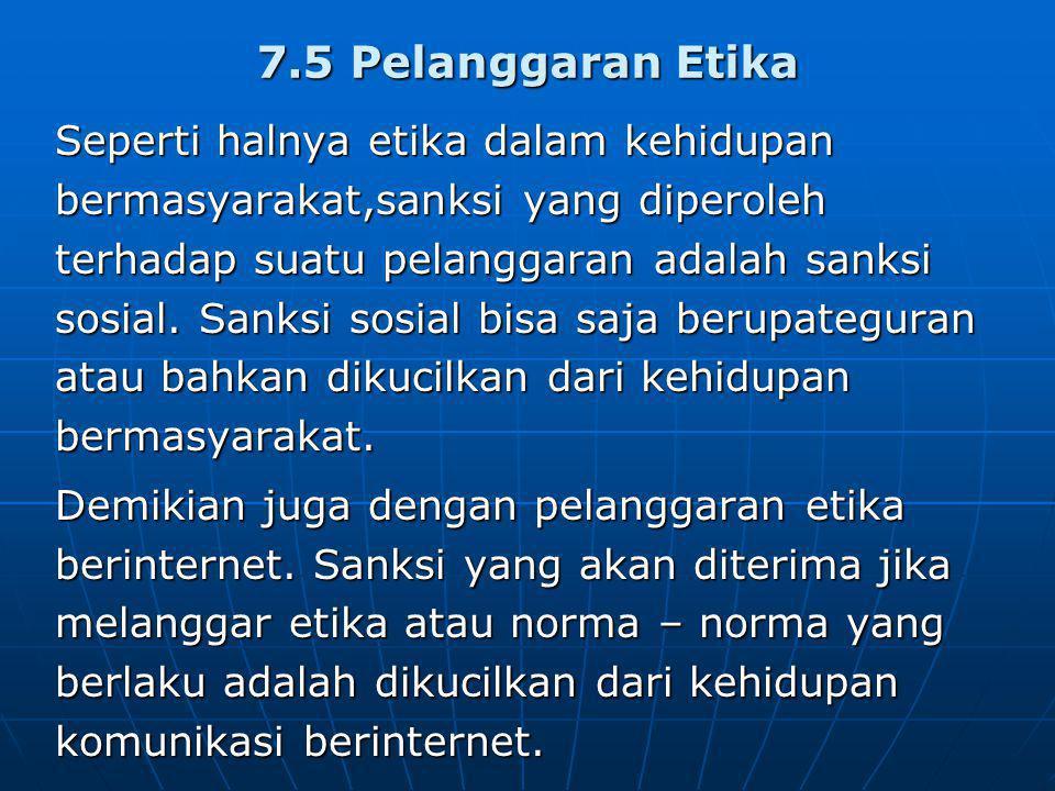 7.5 Pelanggaran Etika