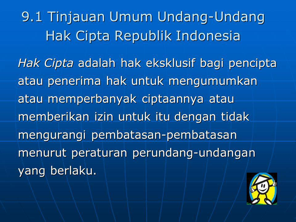 9.1 Tinjauan Umum Undang-Undang Hak Cipta Republik Indonesia