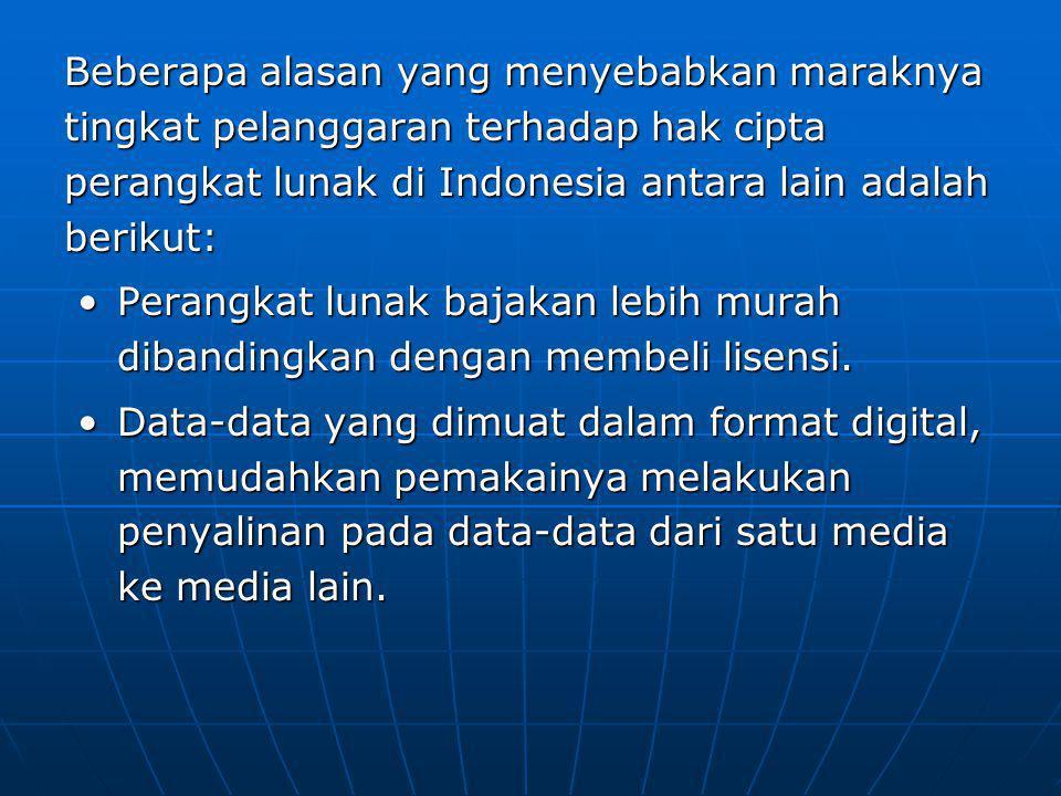 Beberapa alasan yang menyebabkan maraknya tingkat pelanggaran terhadap hak cipta perangkat lunak di Indonesia antara lain adalah berikut: