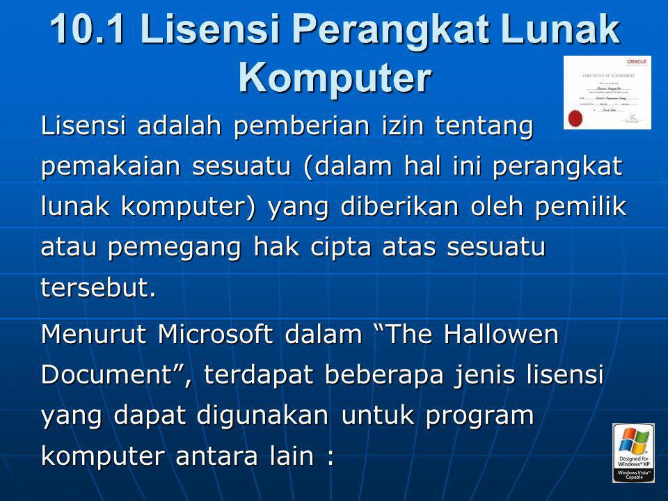 10.1 Lisensi Perangkat Lunak Komputer
