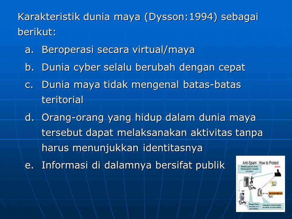 Karakteristik dunia maya (Dysson:1994) sebagai berikut: