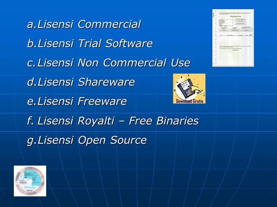Lisensi Commercial Lisensi Trial Software. Lisensi Non Commercial Use. Lisensi Shareware. Lisensi Freeware.