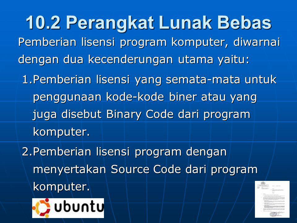 10.2 Perangkat Lunak Bebas Pemberian lisensi program komputer, diwarnai dengan dua kecenderungan utama yaitu: