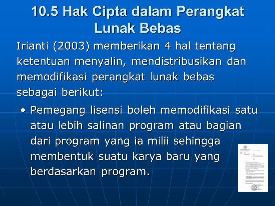 10.5 Hak Cipta dalam Perangkat Lunak Bebas