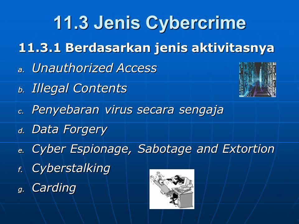 11.3 Jenis Cybercrime 11.3.1 Berdasarkan jenis aktivitasnya