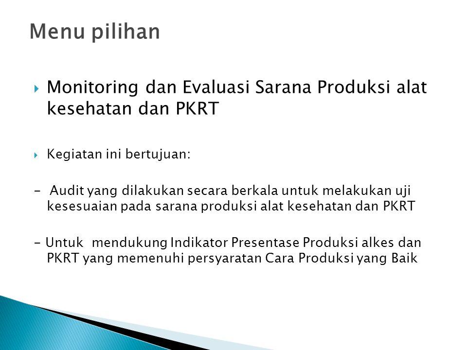 Menu pilihan Monitoring dan Evaluasi Sarana Produksi alat kesehatan dan PKRT. Kegiatan ini bertujuan:
