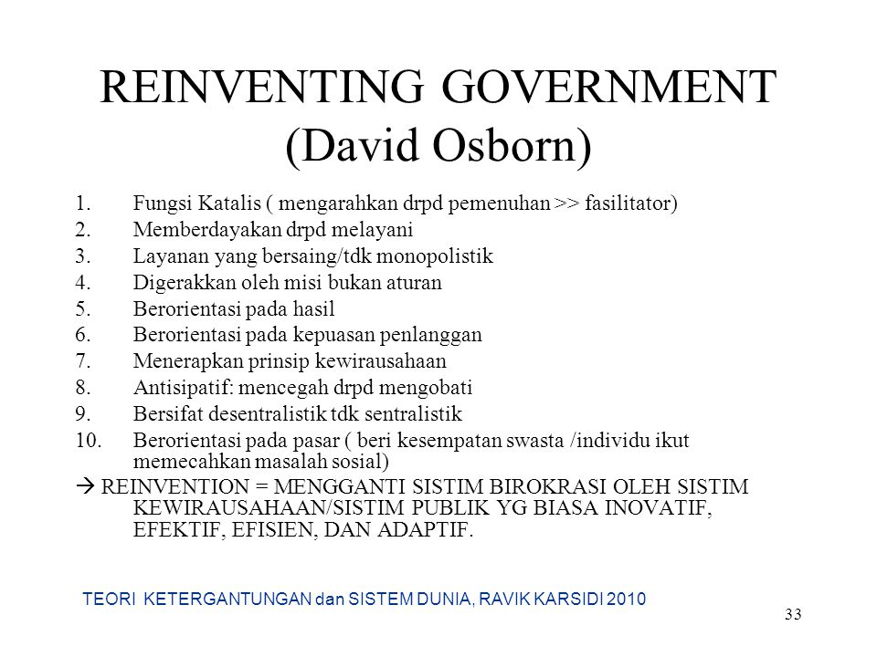 REINVENTING GOVERNMENT (David Osborn)