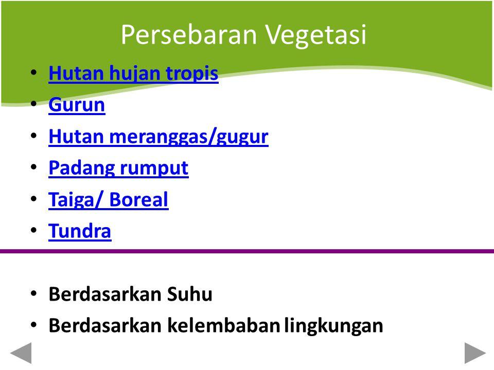 Persebaran Vegetasi Hutan hujan tropis Gurun Hutan meranggas/gugur
