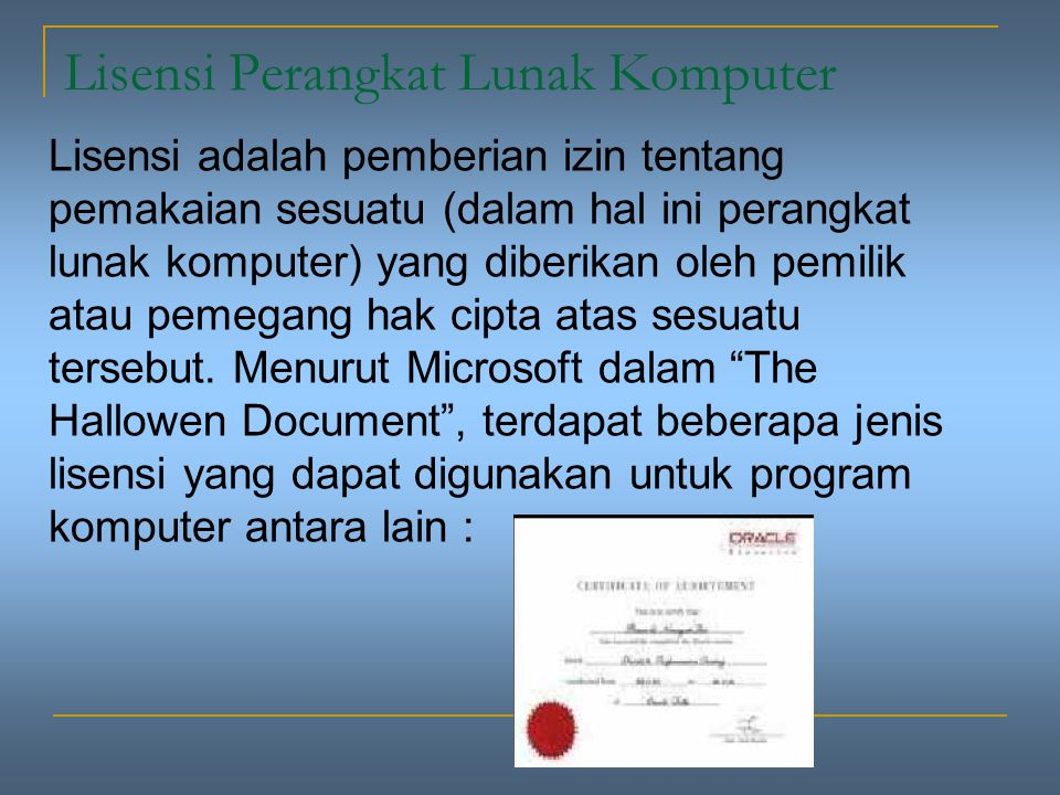 Lisensi Perangkat Lunak Komputer
