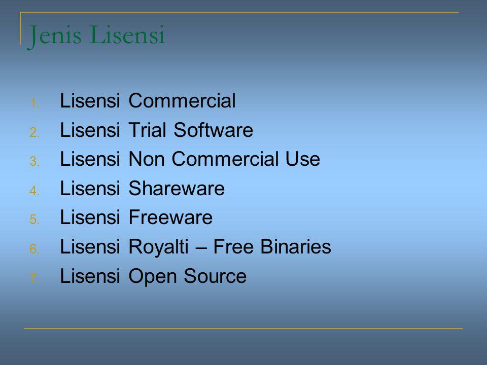 Jenis Lisensi Lisensi Commercial Lisensi Trial Software