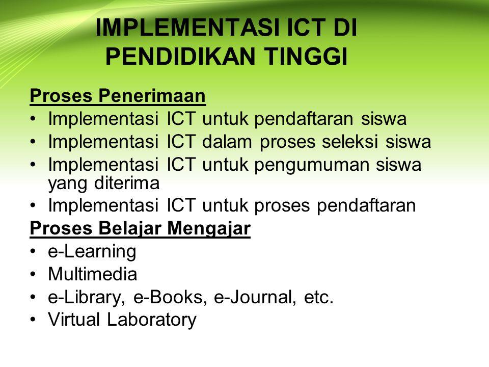 IMPLEMENTASI ICT DI PENDIDIKAN TINGGI