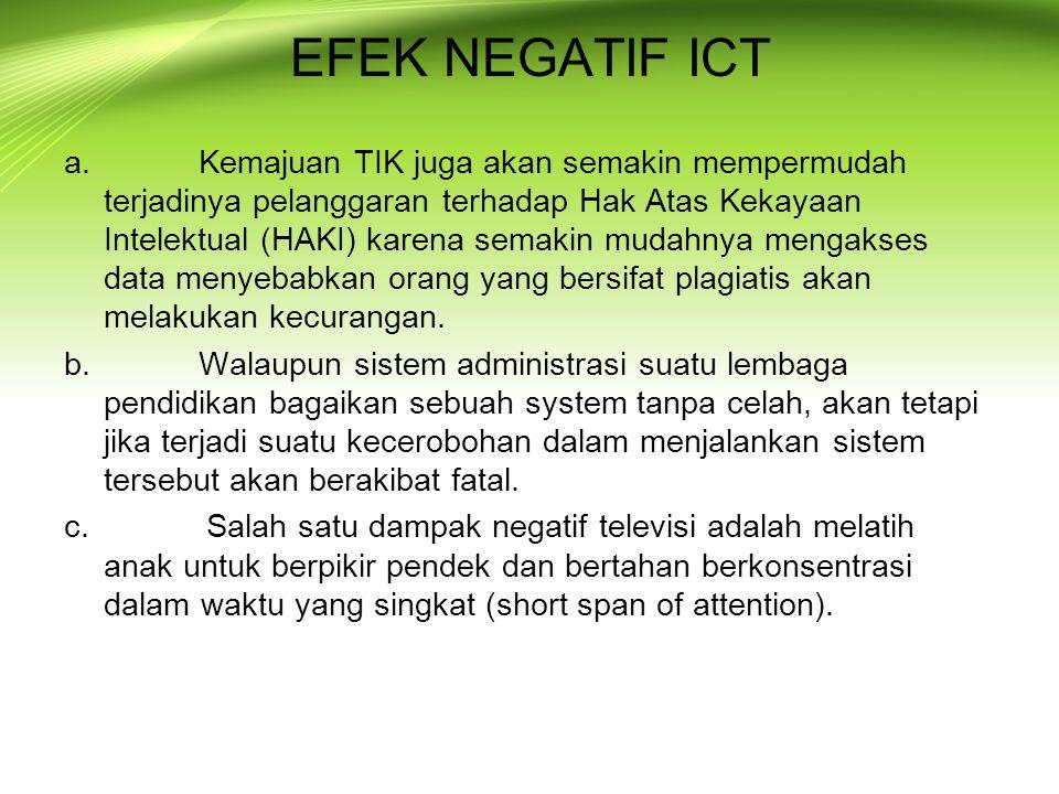 EFEK NEGATIF ICT