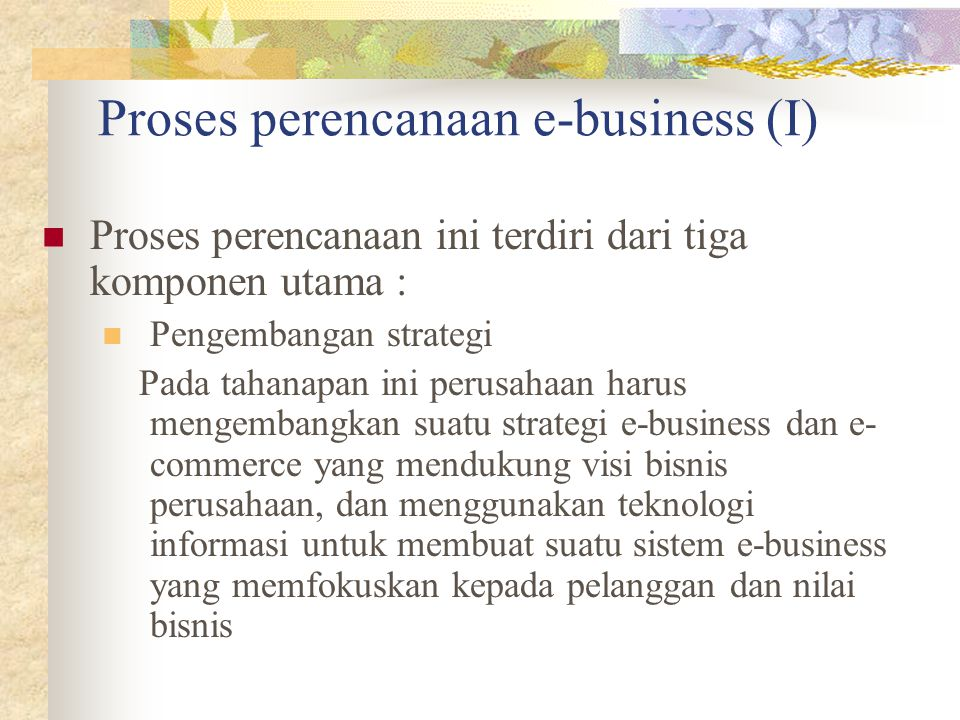 Proses perencanaan e-business (I)