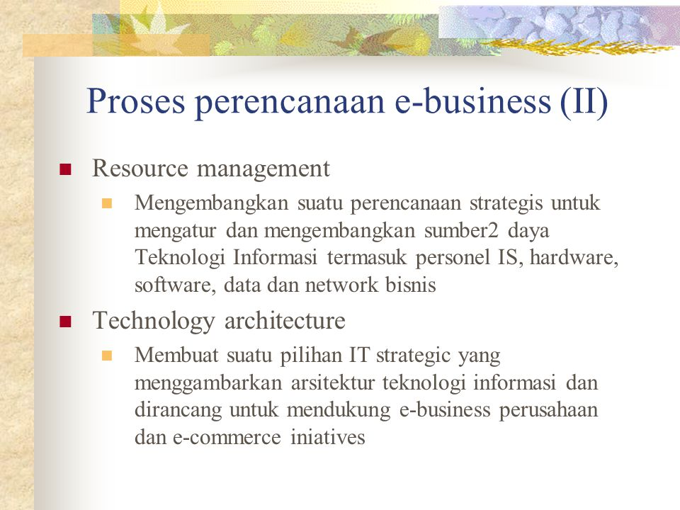 Proses perencanaan e-business (II)