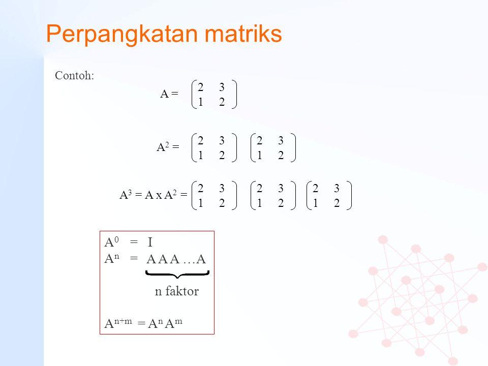 Perpangkatan matriks A0 = I An = A A A …A n faktor An+m = An Am
