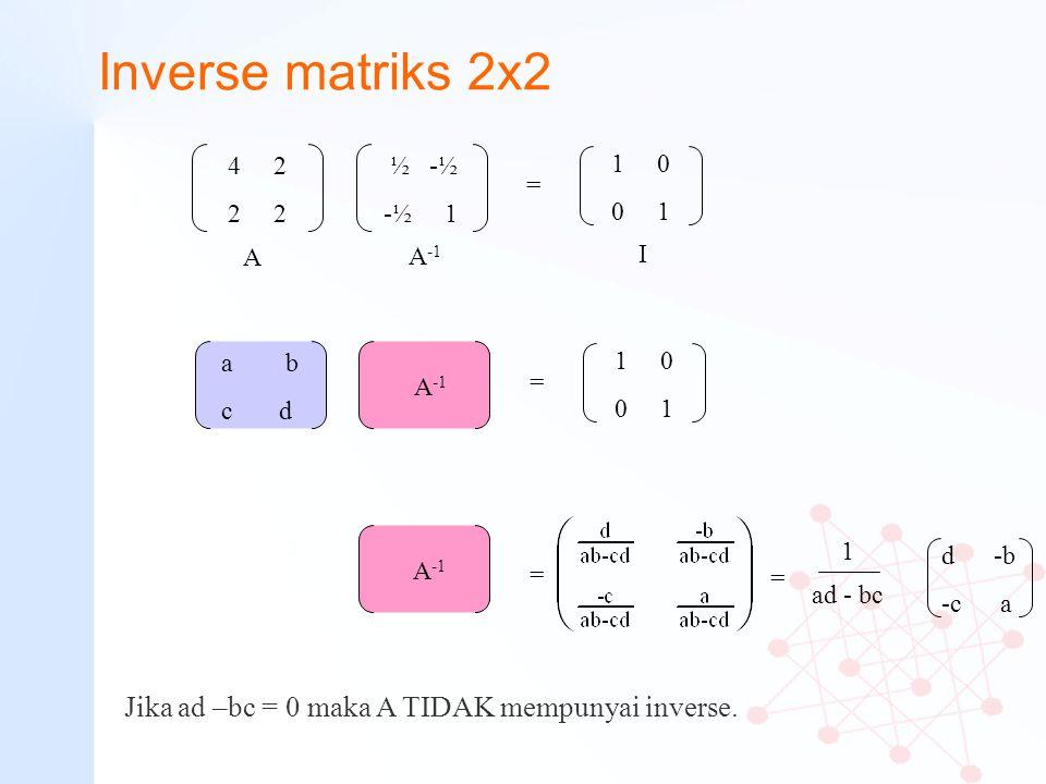 Inverse matriks 2x2 Jika ad –bc = 0 maka A TIDAK mempunyai inverse.