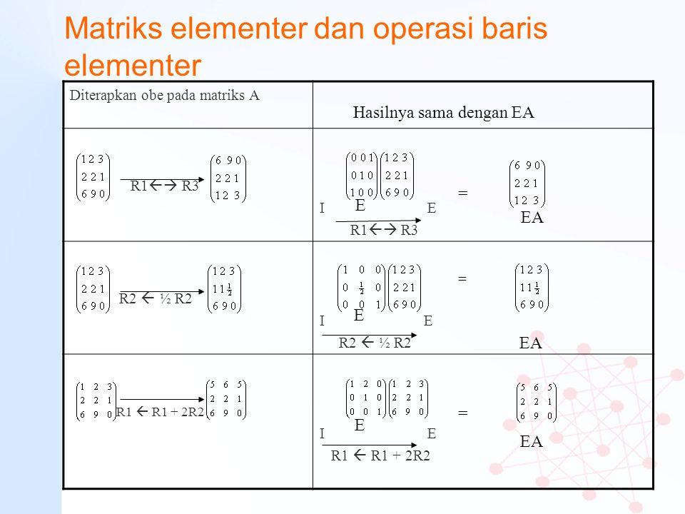 Matriks elementer dan operasi baris elementer