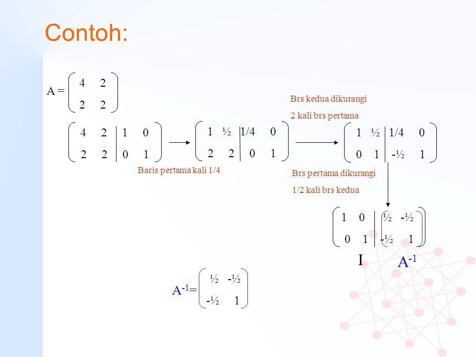 Contoh: 4 2. 2 2. A = Brs kedua dikurangi. 2 kali brs pertama. 4 2 1 0. 2 2 0 1.