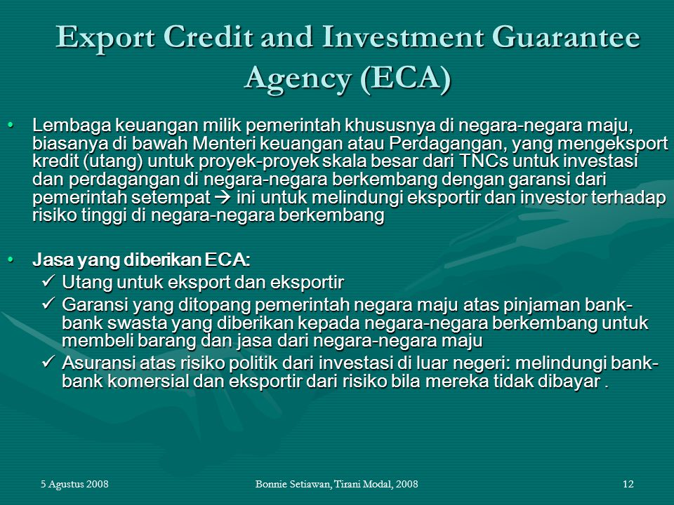 Export Credit and Investment Guarantee Agency (ECA)