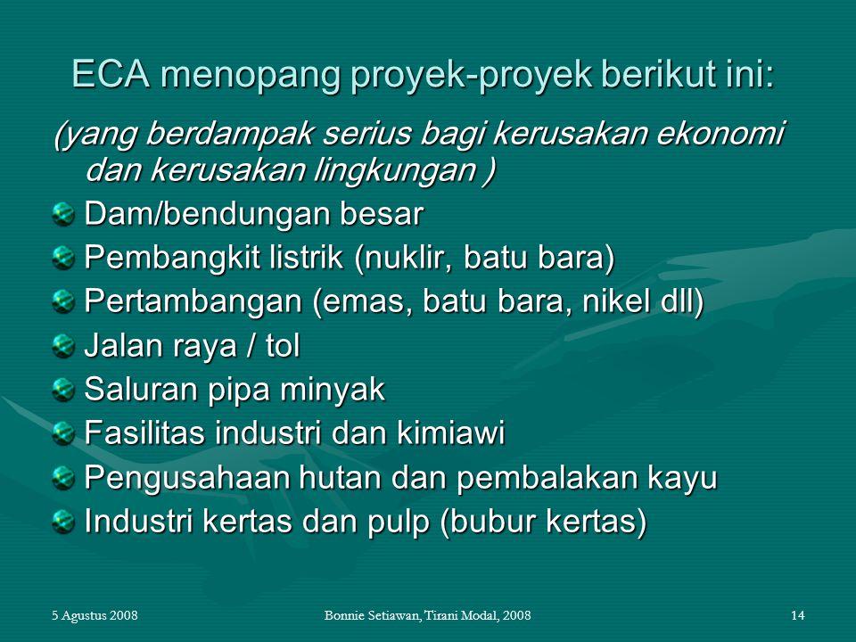 ECA menopang proyek-proyek berikut ini: