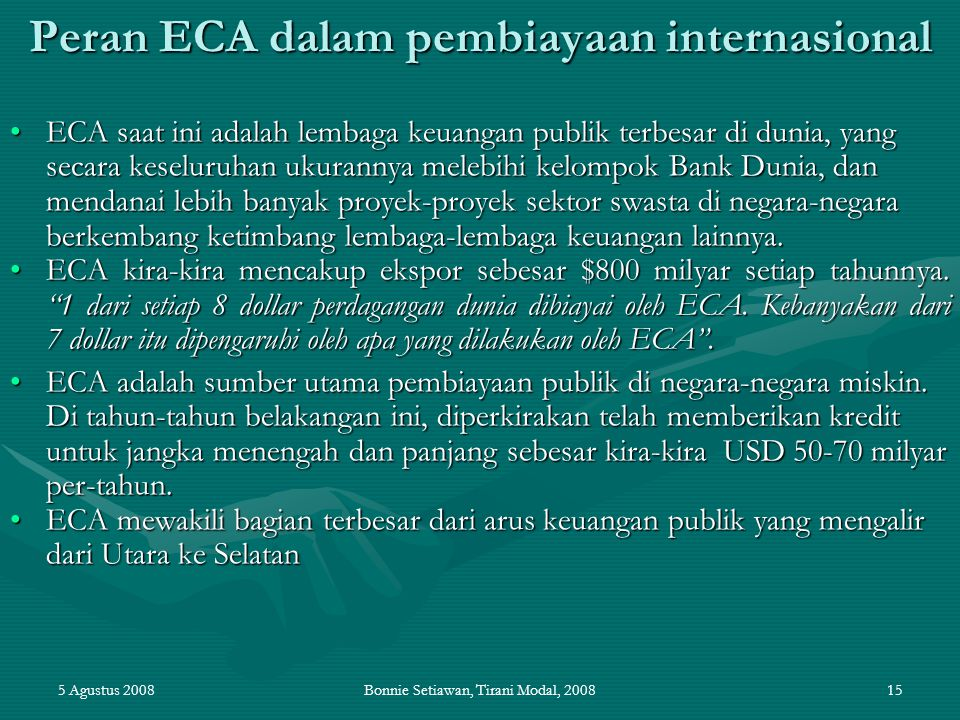 Peran ECA dalam pembiayaan internasional