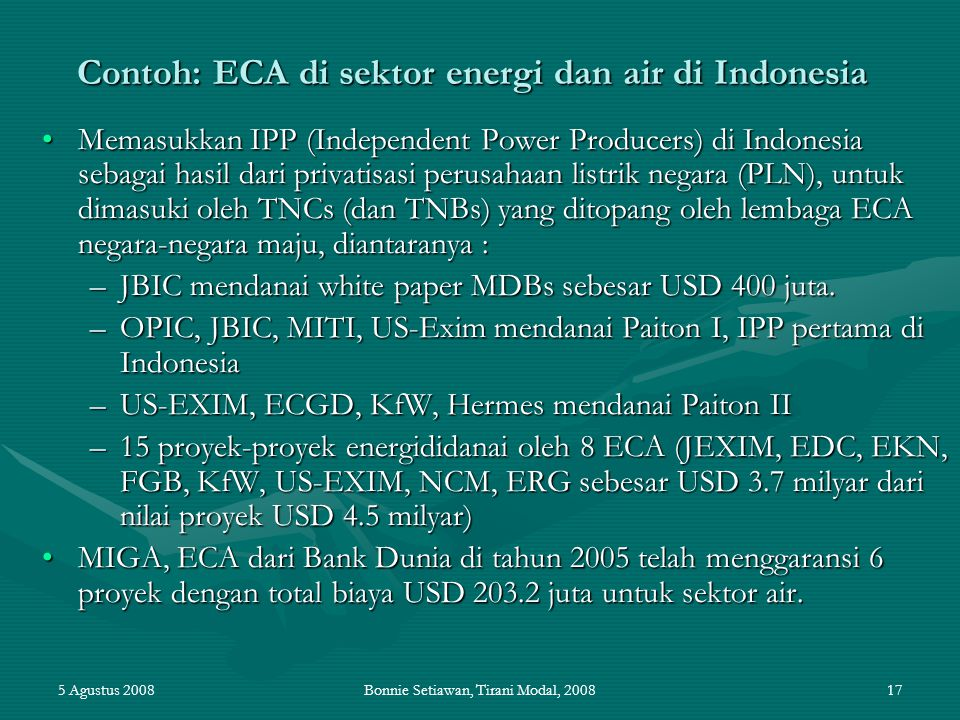 Contoh: ECA di sektor energi dan air di Indonesia