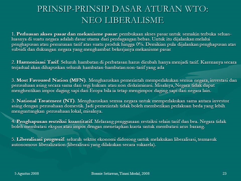 PRINSIP-PRINSIP DASAR ATURAN WTO: NEO LIBERALISME
